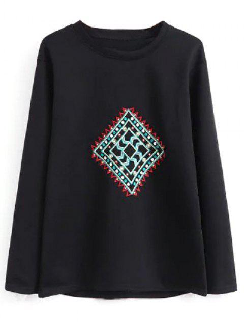 ladies Geometric Embroidered Sweatshirt - BLACK M Mobile