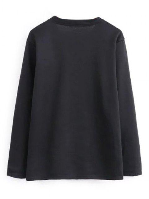 lady Geometric Embroidered Sweatshirt - BLACK S Mobile