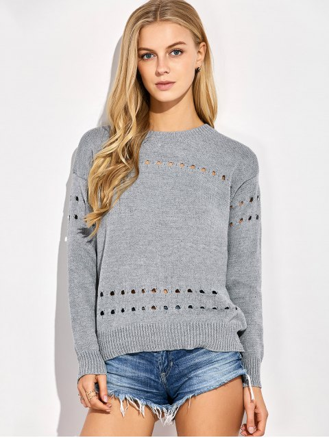 shops Cut Out Oversized Sweater - GRAY ONE SIZE Mobile