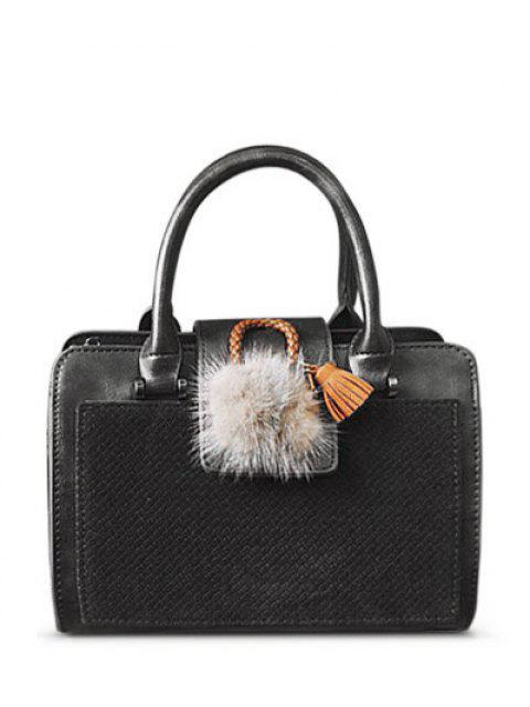 unique Pompon Suede Panel Handbag - GRAY  Mobile