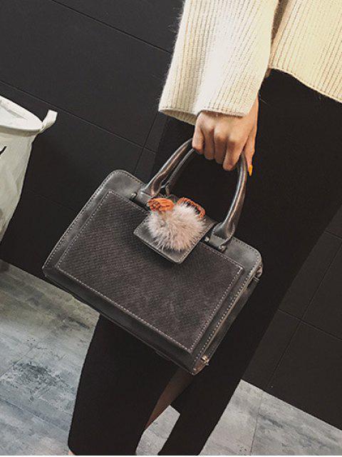 unique Pompon Suede Panel Handbag -   Mobile