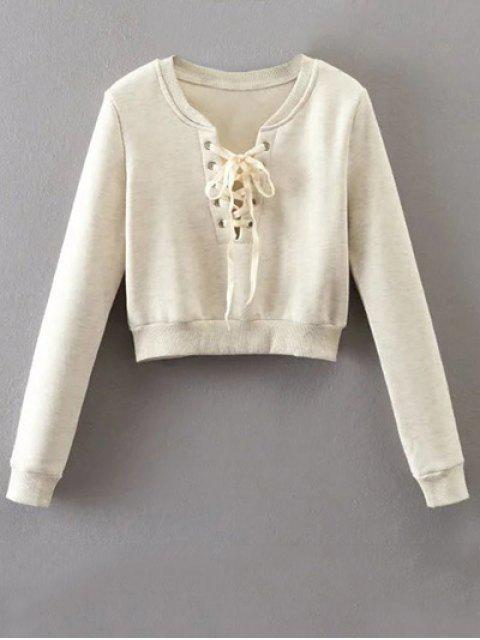 sale Lace Up Cropped Pullover Sweatshirt - OFF-WHITE M Mobile
