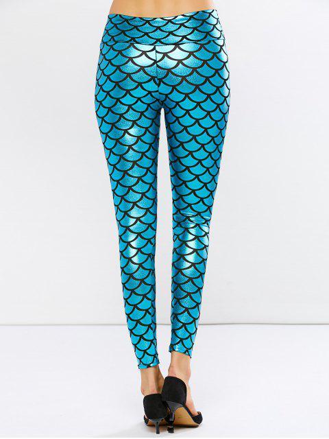 fashion Shiny Fish Scale PU Leather Mermaid Leggings - PEACOCK BLUE ONE SIZE Mobile