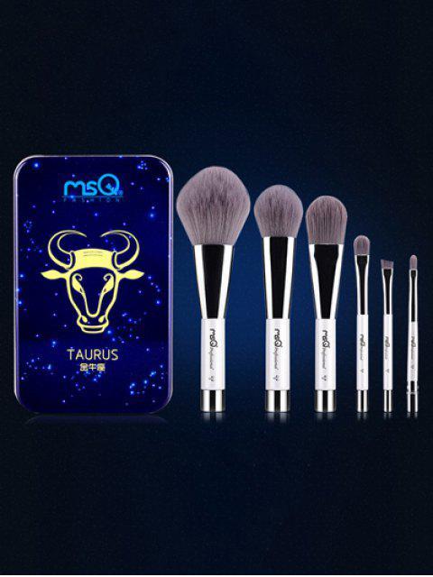 Ensemble de 6 pinceaux de maquillage avec boîte en fer Taurus - Bleu  Mobile
