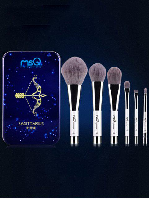 Ensemble de 6 pinceaux de maquillage avec boîte en fer Sagittaire - Bleu  Mobile