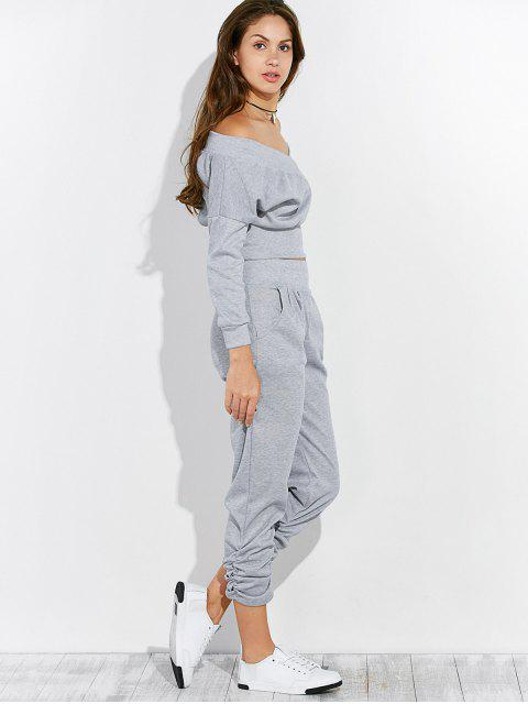 women's Off The Shoulder T-Shirt and Pants - GRAY XL Mobile