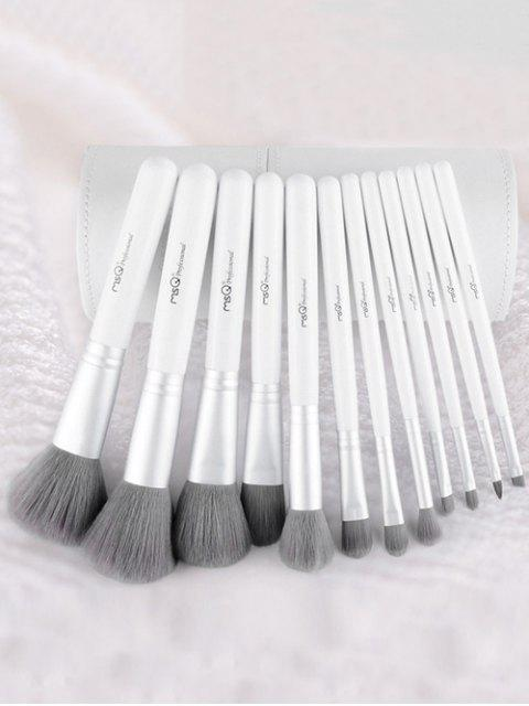 online 12 Pcs Fiber Makeup Brushes Kit - WHITE  Mobile