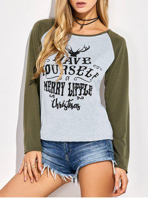 shops Christmas Letter Baseball T-Shirt - GRAY 2XL Mobile