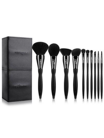 10 Pcs Fiber Makeup Brushes Set With Magnet Brush Holder - Black