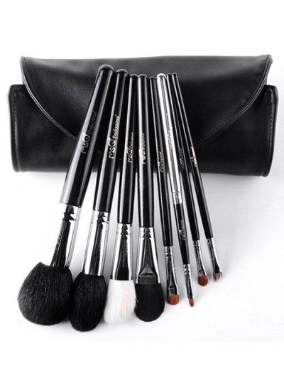 8 Pcs Animal Hair Makeup Brushes Kit - Black