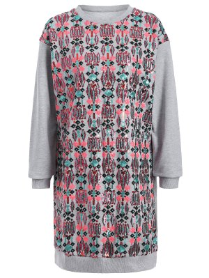 Embroidered Sequined Long Sleeve Dress - Gray M