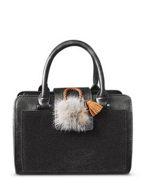 Pompon Suede Panel Handbag