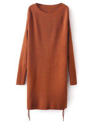 Longline Side Slit Sweater - Brown