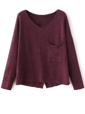 Slit V Neck Sweater - Purplish Red
