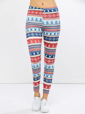 Stretchy Christmas Ornate Print Leggings