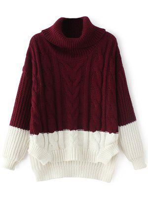Cowl Neck High-Low Sweater - Wine Red
