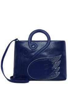 Costura Padrão Asa Texturizado De Couro Tote Bag - Azul