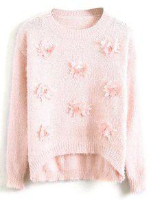 Floral Applique Fluffy Sweater - Pink