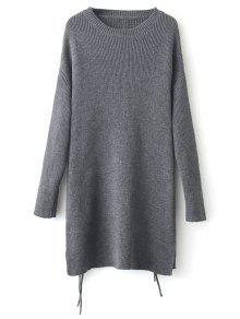 Longline Side Slit Sweater - Gray
