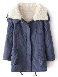 Zip-Up Lamb Wool Coat - Blue M