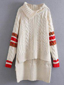 Contrast Trim Cable Knit Sweater - Off-white
