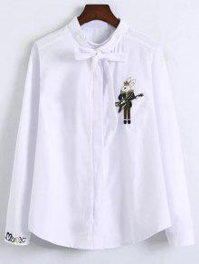 Patched Bowknot Embroidered Shirts