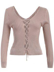 Ribbed Deep V Neck Jumper - Apricot
