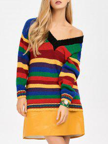 Long Striped V Neck Sweater - Blue