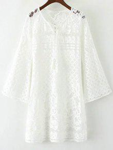 V Neck Bell Sleeve Lace Dress - White M