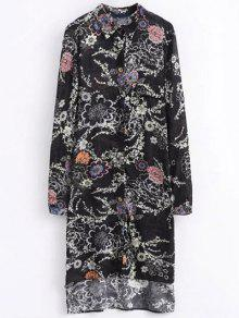 High Low Retro Floral Shirt Dress - Black M