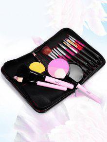 Bolsa De Almacenamiento De Imitación De Cuero Del Bolso De Maquillaje Cosmético - Negro