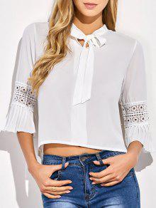 Bowknot Flare Sleeve Blouse - White
