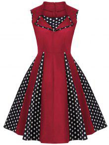 Vintage Sleeveless Polka Dot Dress - Red 3xl