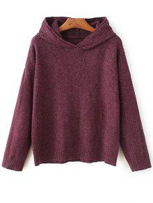 Long Sleeve Hoodie Sweater - Purplish Red