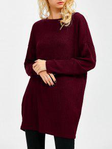 Skew Neck Long Sleeve Jumper - Wine Red S