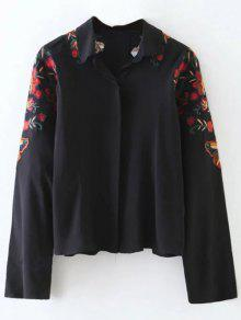 Cropped Flower Embroidered Shirt - Black M
