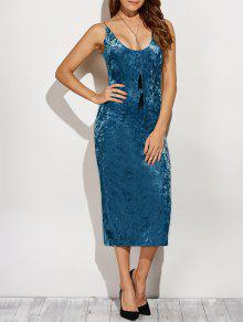 Back Slit Velvet Cami Pencil Dress - Blue Xl