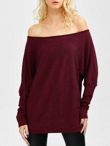 Asymmetric Neckline Batwing Sweater - Wine Red M