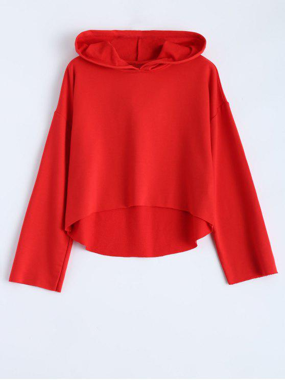 hot Cropped High Low Hoodie - RED M