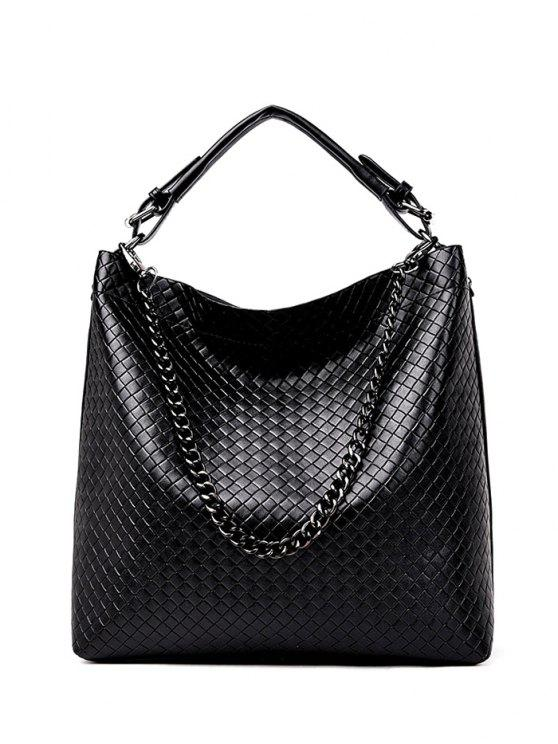 outfits Argyle Double Buckle Chain Tote Bag - BLACK