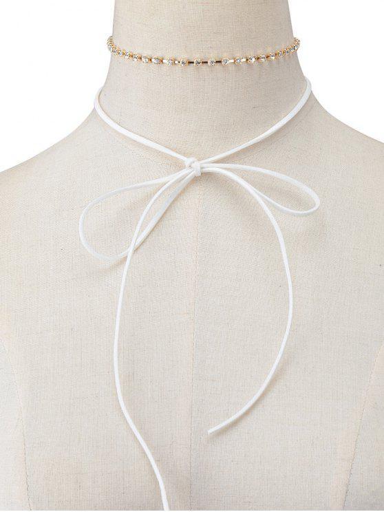 women Velvet Bowknot Rhinestone Choker Necklace Set - WHITE
