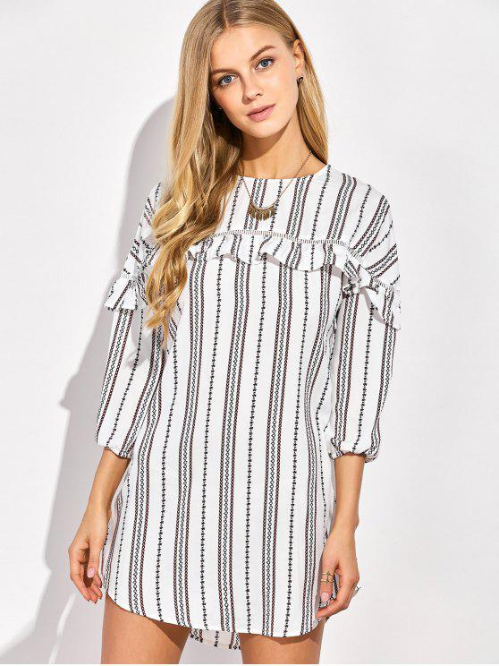 women's Round Neck Ruffles Striped Shift Dress - WHITE 2XL