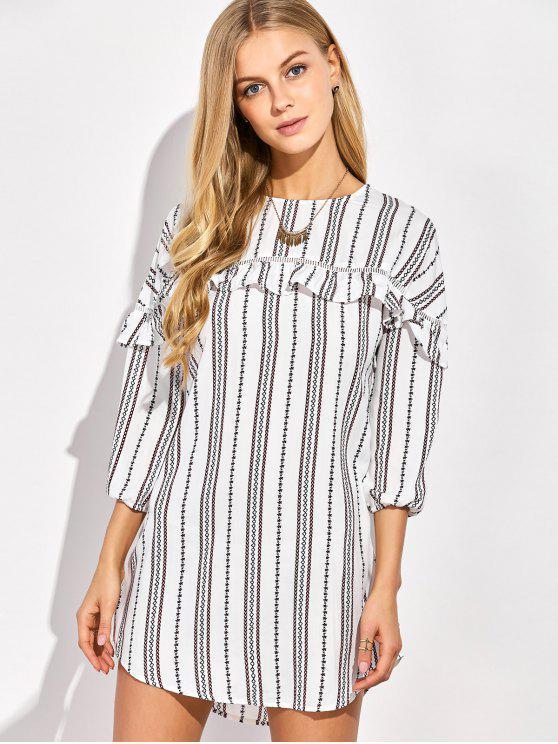 ladies Round Neck Ruffles Striped Shift Dress - WHITE XL