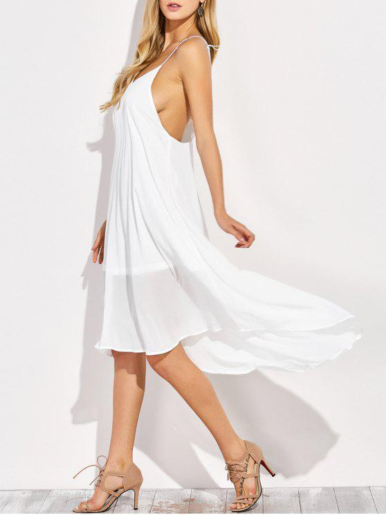 sale Sexy Backless High Low Slip Dress - WHITE L
