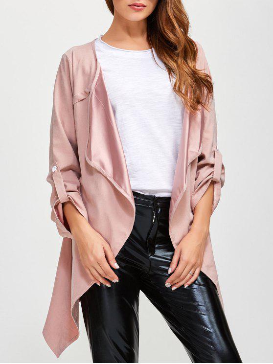 fashion Drape Front Coat - PINK 3XL