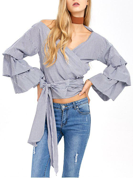 trendy Layered Sleeve Striped Wrap Blouse - BLUE AND WHITE S