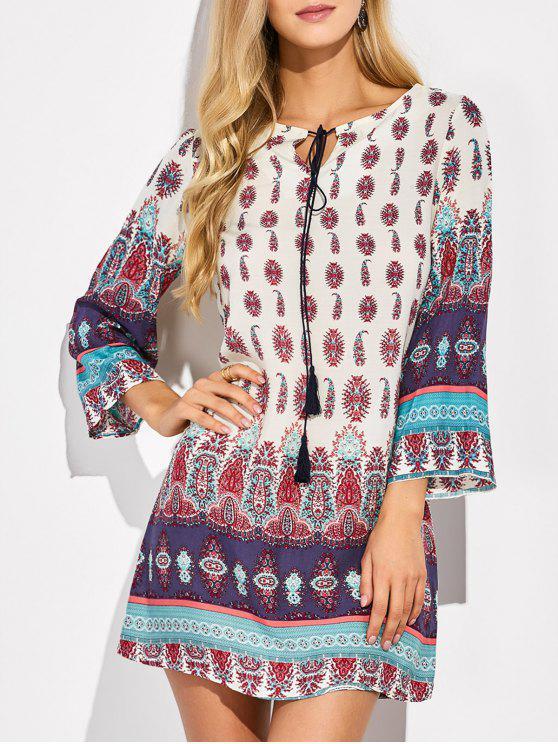 trendy Retro Print Tunic Dress - COLORMIX L