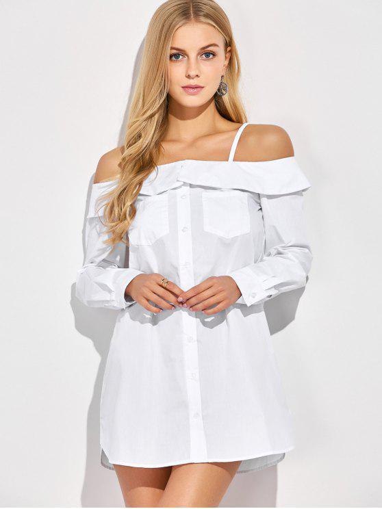 Botones en el hombro frío Hasta la blusa - Blanco S