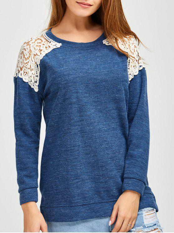 new Lace Spliced Slit Sweater - BLUE M