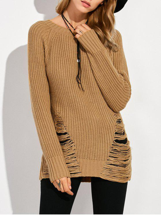 fancy Ripped Chunky Crew Neck Sweater - BROWN L